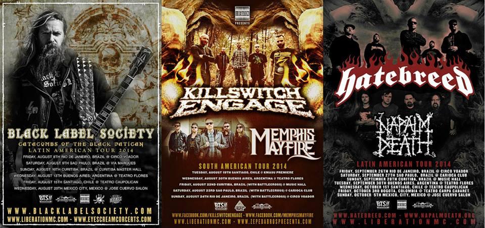 Black Label Society, Hatebreed, Napalm Death, Killswitch Engage, entre otros anuncian show en Chile