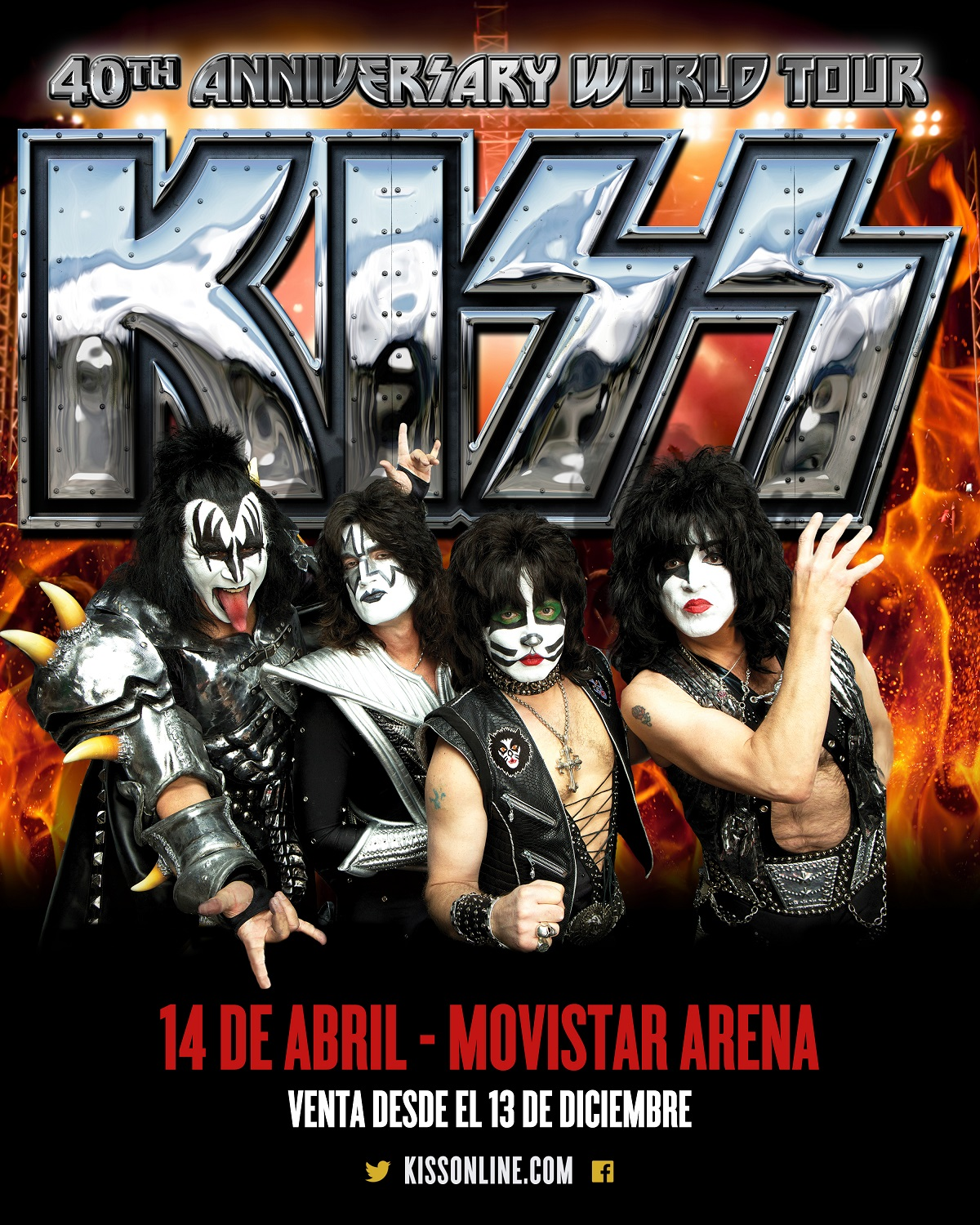 Confirmado: Kiss regresa a Chile en abril de 2015 para un concierto en el Movistar Arena