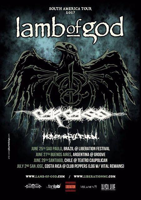 Lamb of God, Carcass y Heaven Shall Burn juntos en Chile: revisa los valores y detalles