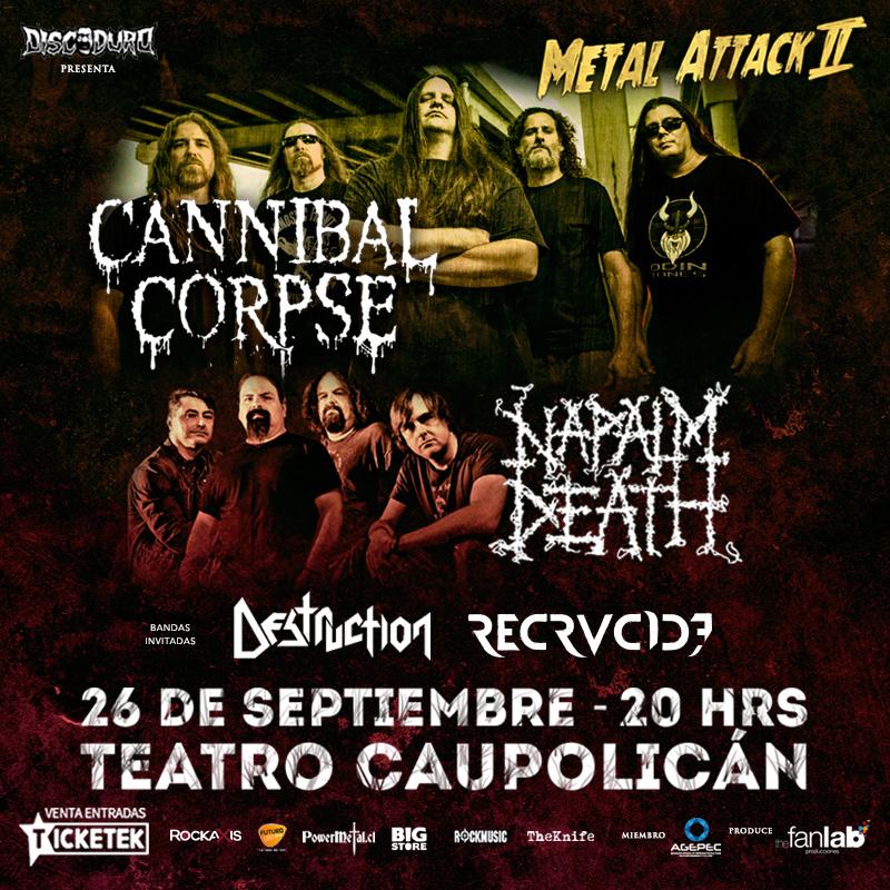Recrucide se suman al show de Cannibal Corpse, Napalm Death y Destruction en Chile