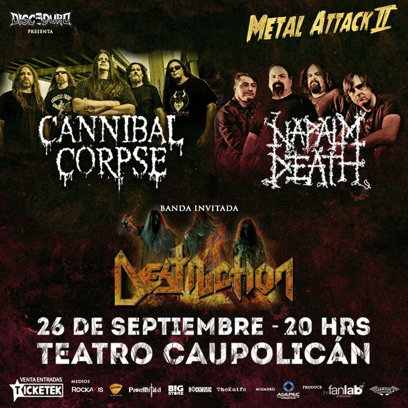 Los alemanes de Destruction se suman a show de Napalm Death y Cannibal Corpse en Chile