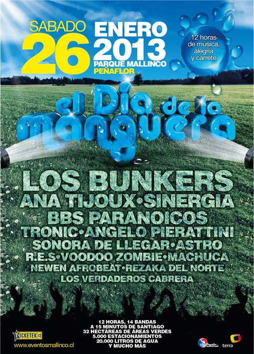 """Los Bunkers, Sinergia, BB's Paranoicos y muchos más animan festival  """"El Día de la Manguera"""""""