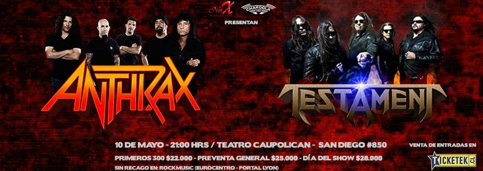 Se extiende preventa de concierto de Anthrax y Testament en Chile