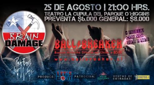 Brain Damage y Ballbreaker se presentan en megaevento tributo en Teatro La Cúpula