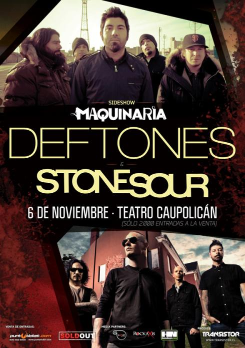 Deftones y Stone Sour agendan sideshow en Chile