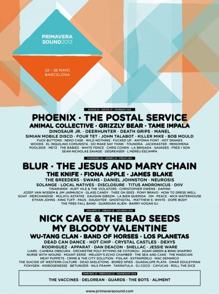 Revisa el cartel definitivo del Festival Primavera Sound 2013