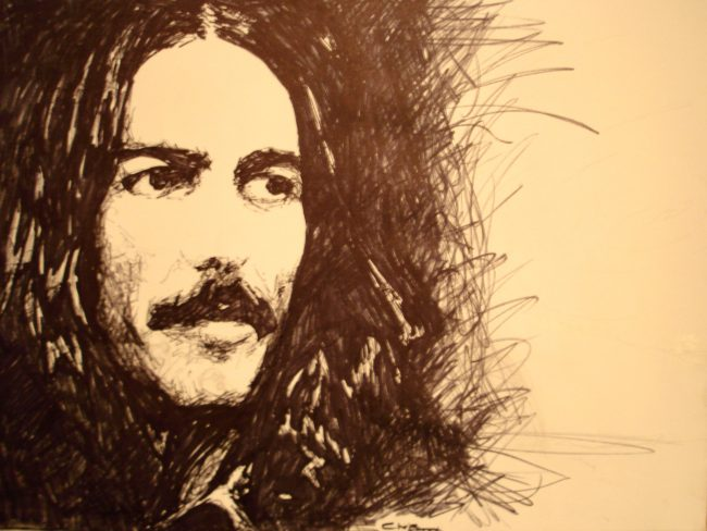 George Harrison: La guitarra sigue llorando suavemente.