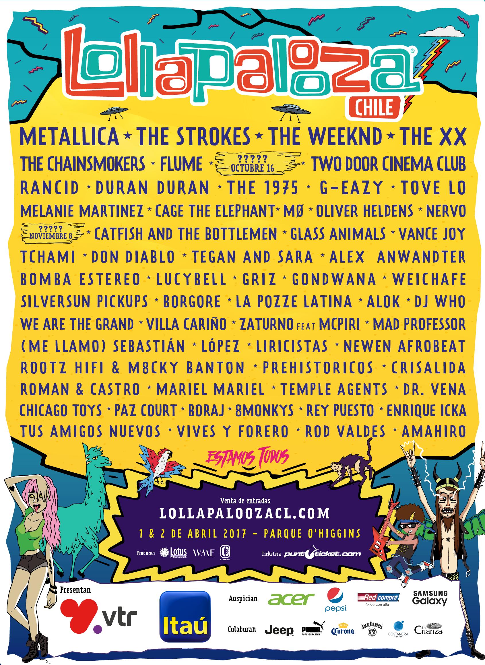 Lollapalooza Chile anuncia su cartel completo: Metallica, The Strokes, Duran Duran, Rancid y más