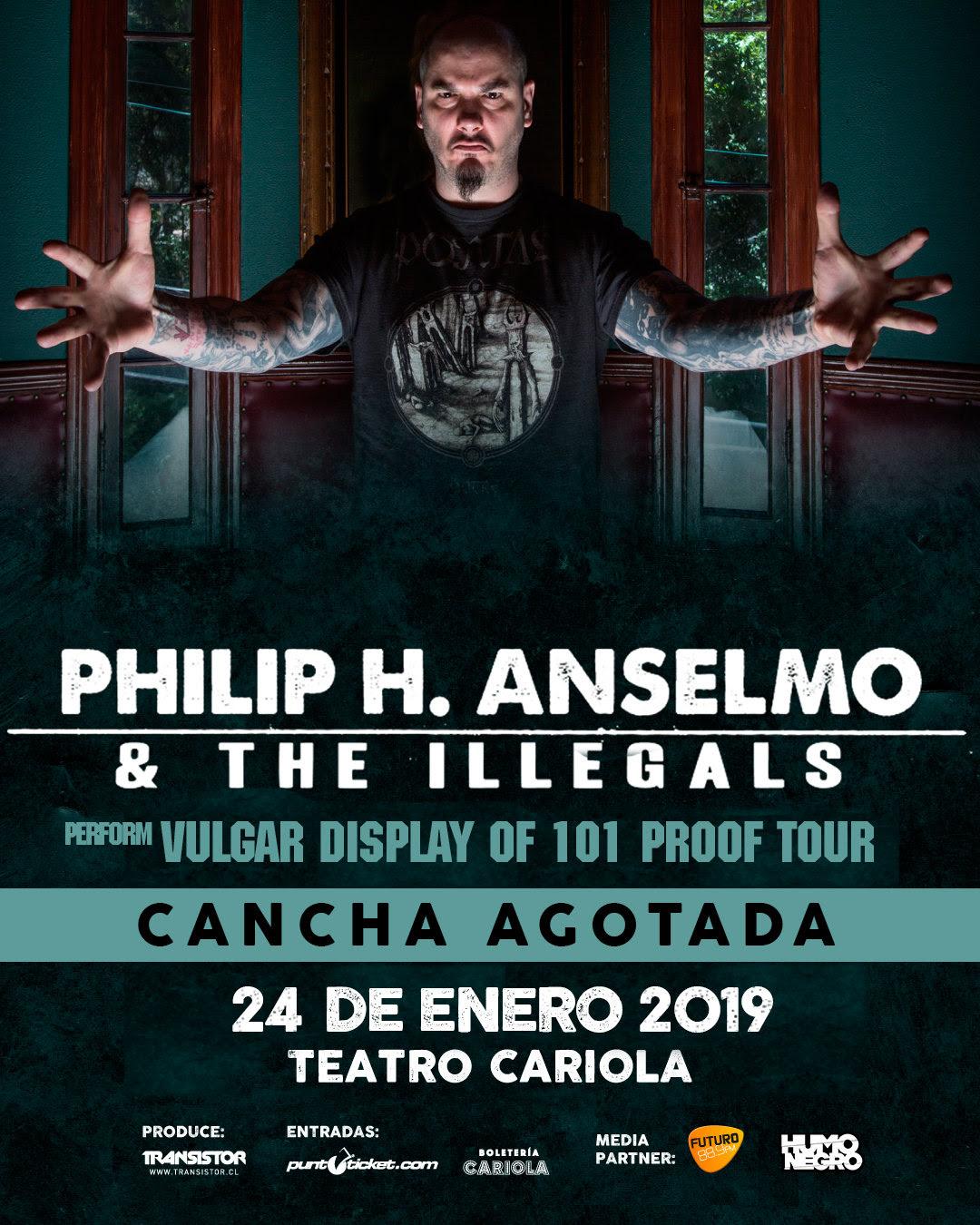 Phil Anselmo anuncia que show en Chile será completo de canciones de Pantera