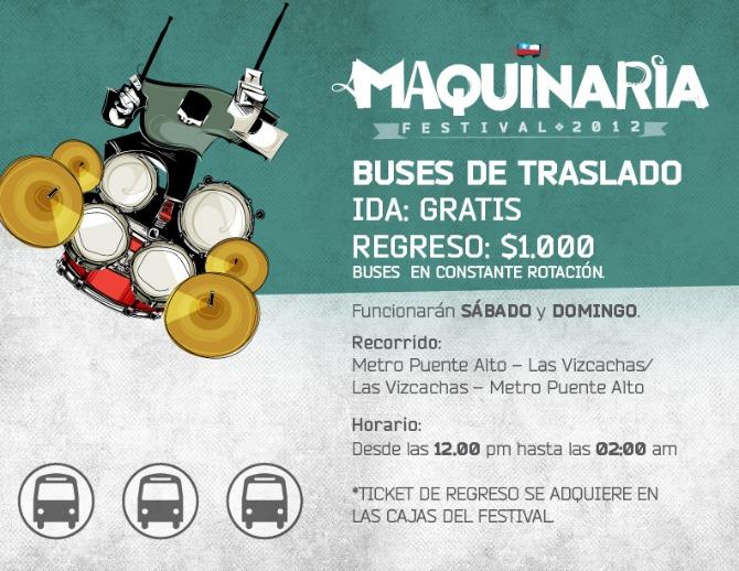 Festival Maquinaria dispone de buses de traslado, revisa los detalles