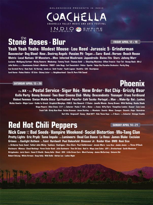 Se revela line-up completo del festival de Coachella 2013