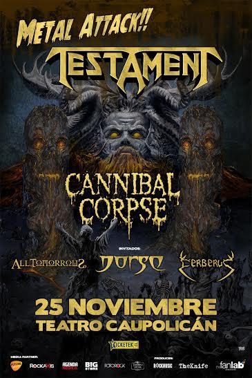 Concierto de Testament y Cannibal Corpse incluirá bandas chilenas de primer nivel
