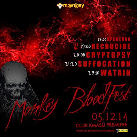 Revisa los horarios del Monkey Blood Fest (Watain/Cryptosy/Suffocation/Recrucide)