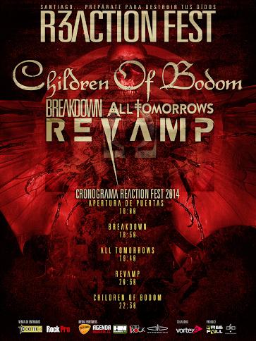 Se revelan horarios para el Reaction Fest: Children of Bodom, Revamp y más