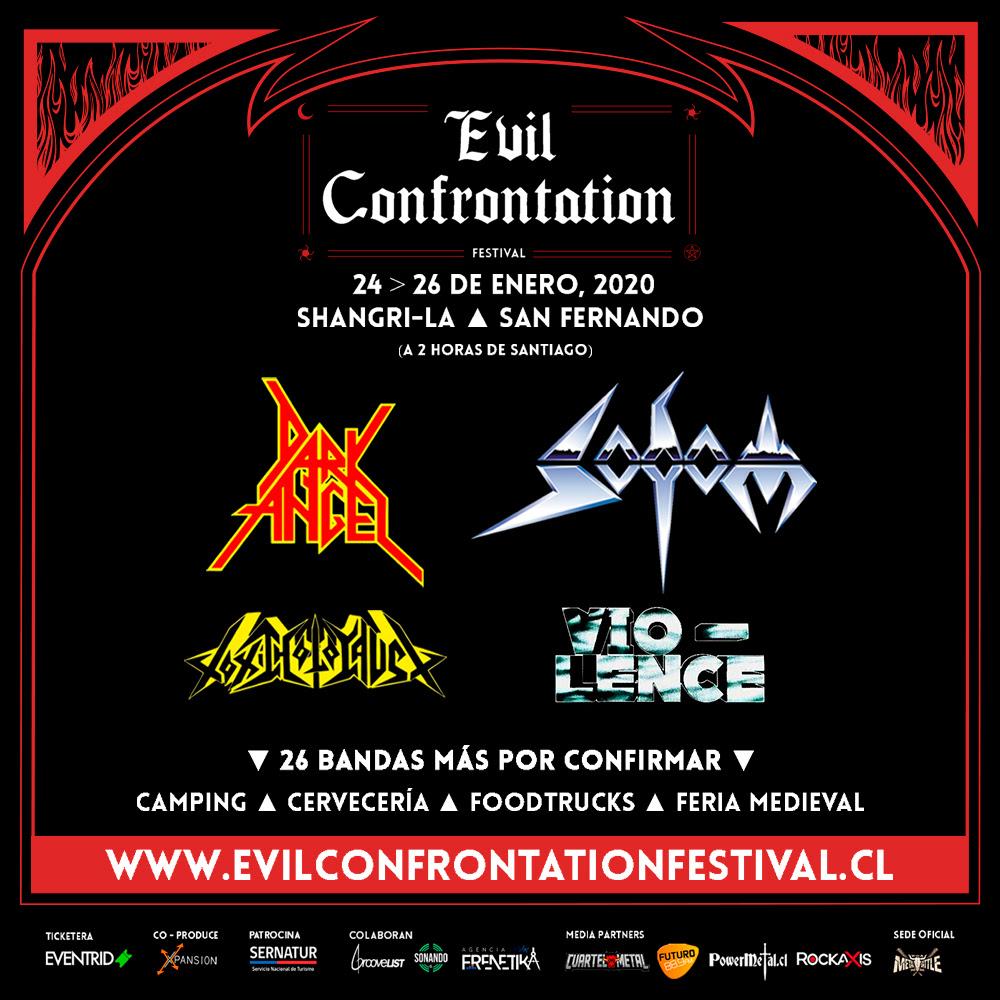 Evil Confrontation anuncia su cartel: Dark Angel, Vio-lence, Toxic Holocaust y Sodom animarán el evento